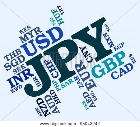 Jpy Currency Means Worldwide Trading And Coinage