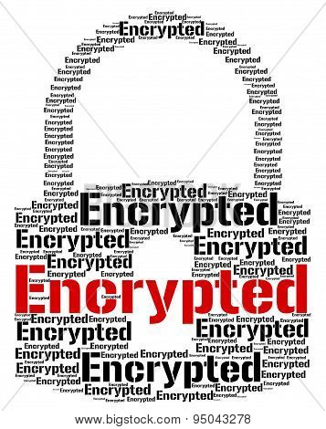 Encrypted Word Means Code Security And Words