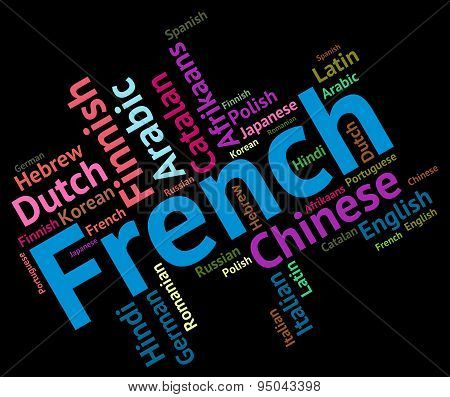 French Language Represents Translator Text And Words