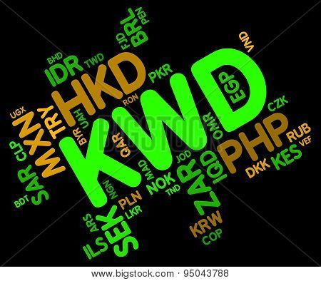 Kwd Currency Indicates Worldwide Trading And Foreign