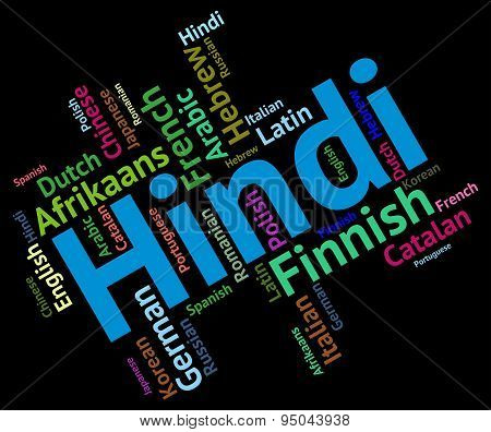 Hindi Language Indicates International Speech And Text