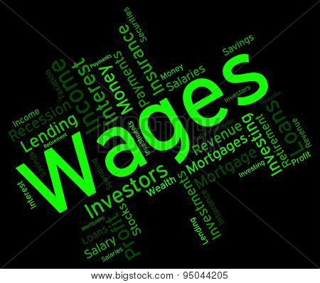 Wages Word Represents Revenue Income And Words