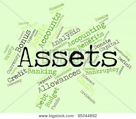 Assets Words Represents Owned Valuables And Belongings