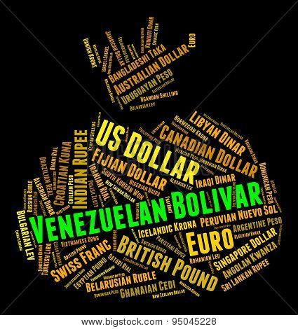 Venezuelan Bolivar Means Foreign Currency And Bolivars
