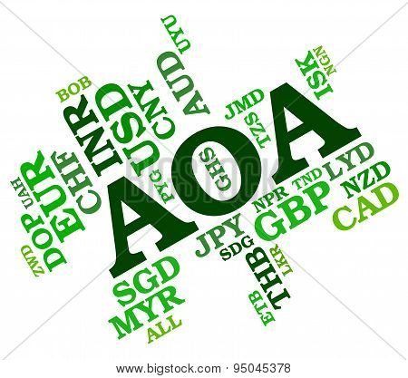 Aoa Currency Indicates Exchange Rate And Broker