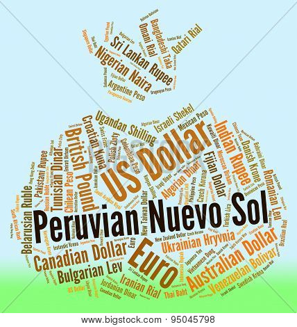 Peruvian Nuevo Sol Indicates Worldwide Trading And Currencies