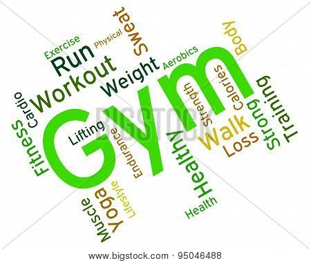 Gym Wordcloud Shows Get Fit And Exercising