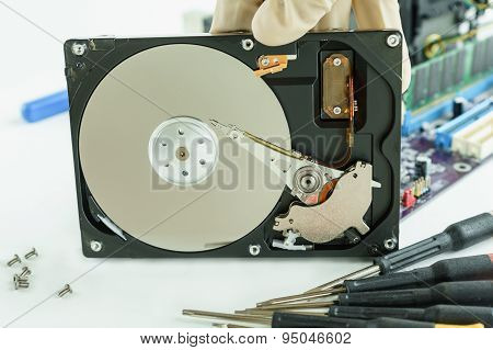 Opened Hard Disk Drive For Recovery Data Storage