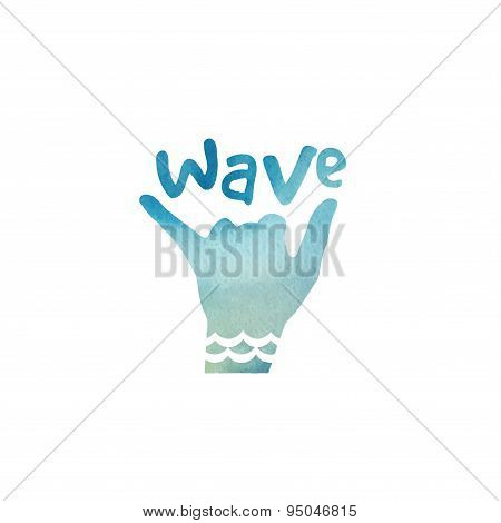 T-shirt printing design, typography graphics surfing vector illustration. Shaka surfer symbol