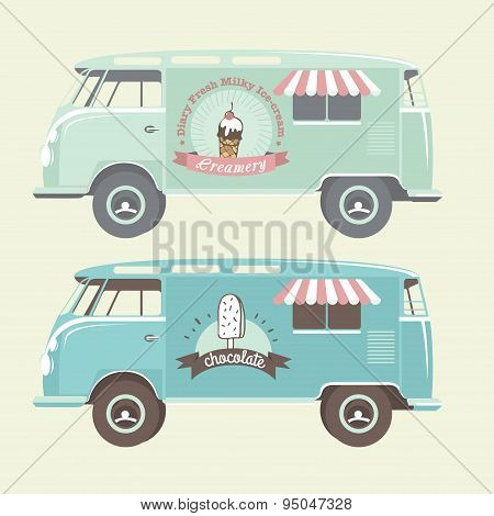 Vector ice cream truck. Retro looking ice cream van. Ice cream labels, badges and design elements.