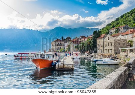 View On Embankment And Boats In Perast, Montenegro