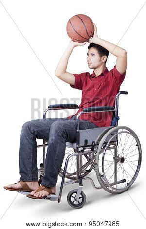 Disabled Man Play Basketball