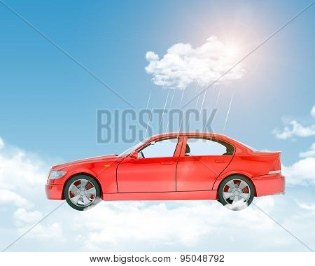 Blue sky with clouds and red car