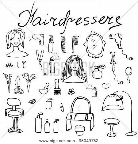 Hairdresser Equipment Doodles Set. Hand-drawn Sketch Vector Illustration, Isolated