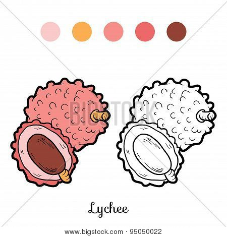 Coloring Book: Fruits And Vegetables (lychee)