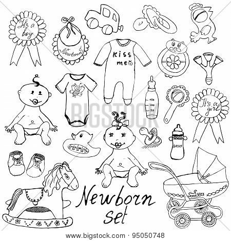 Baby Icons, Toys, Clothes And Cradle, Hand Drawn Sketch Vector Illustration Isolated