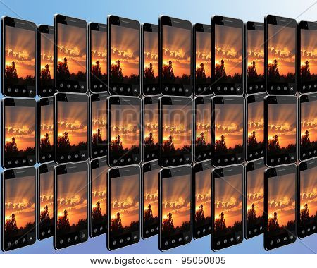 Smart-phones With Sunset In Rows