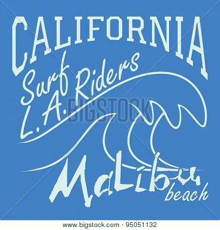T-shirt Printing Design, Typography Graphics Summer Vector Illustration Badge Applique Label Califor