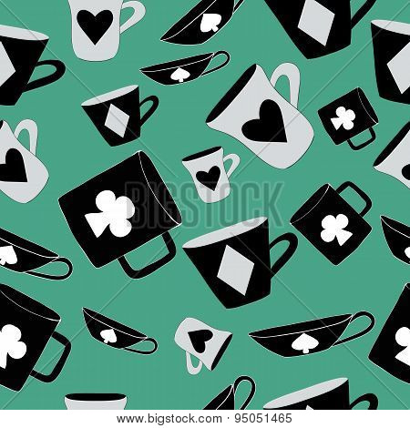 Alice Cups and cards. Seamless -vector