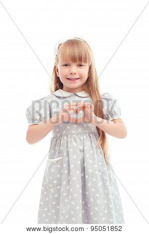 Pretty girl  expressing love