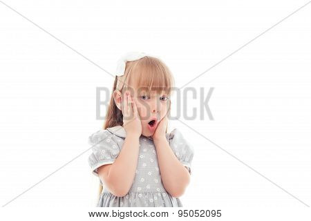 Pretty little girl showing wonder