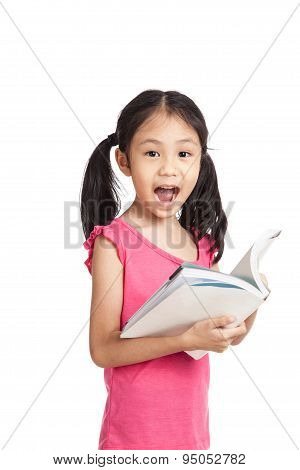 Happy Little Asian Girl  Read A Book