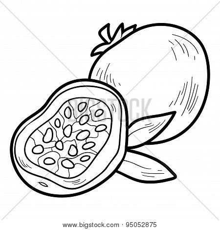Coloring Book: Fruits And Vegetables (passion Fruit)