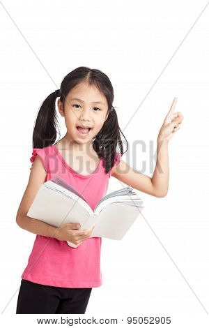 Happy Little Asian Girl  Read A Book And Point Up