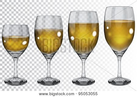 Set Of Empty Transparent Glass Goblets With White Wine