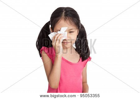 Little Asian Girl Cry With Napkin Paper