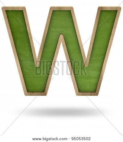 Green blank letter W shape blackboard
