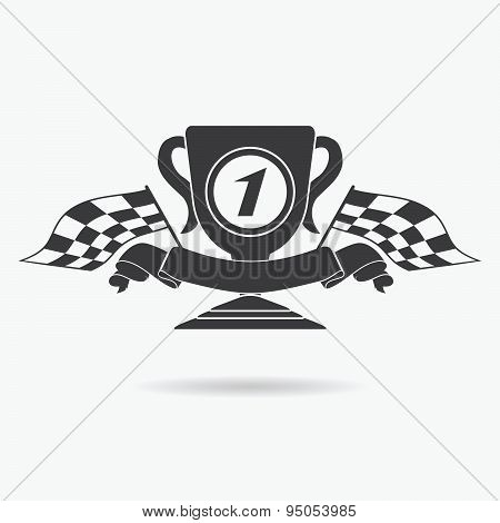 Flag Icon. Checkered Or Racing Flags First Place Prize Cup And Finish Ribbon. Sport Auto, Speed And