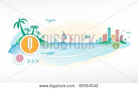 Thermometer Indicates On Travel Background.