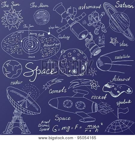 Space Doodles Icons Set. Hand Drawn Sketch With Solar System, Planets Meteors And Comats, Sun And Mo
