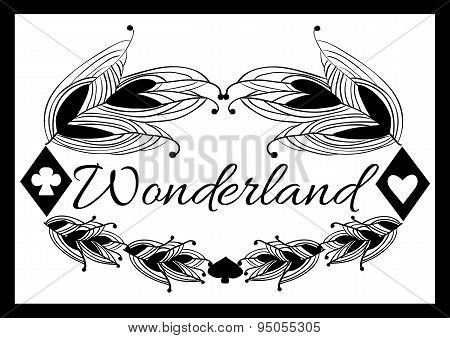Alice's Advetures In Wonderland Black Pattern