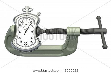 Stopwatch squeezed in a clamp