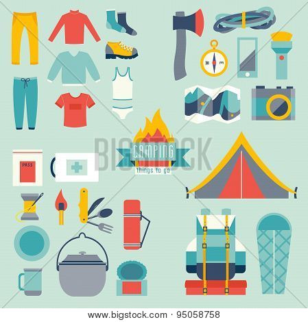 Hikingand camping equipment icon