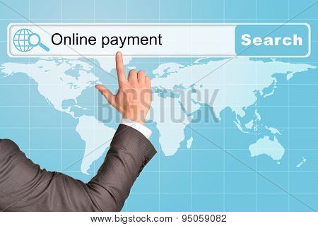 Businessmans hand on abstract blue background