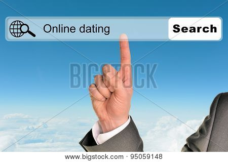 Businessmans hand on blue sky background