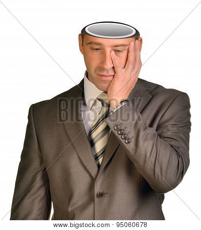 Sad businessman with empty head