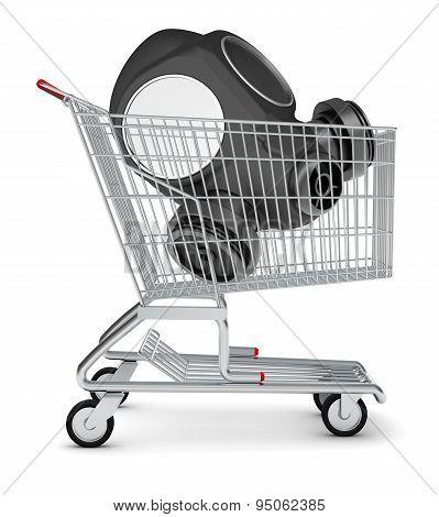 Gas mask in shopping cart