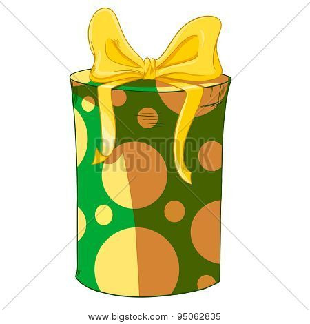 Green Cylinder Gift Box With Yellow Bow.