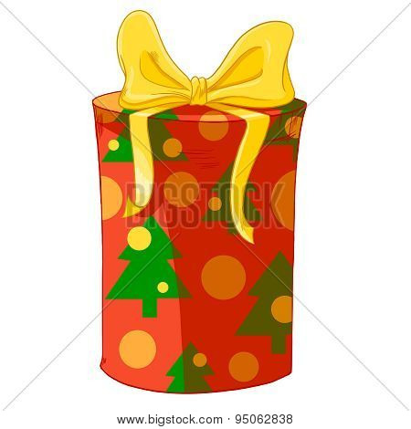 Red Cylinder Gift Box With Christmas Trees And Yellow Bow.