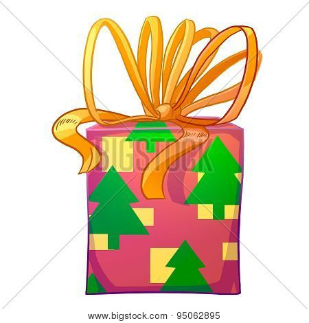 Christmas Gift Box With Yellow Bow