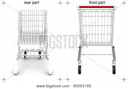 Rear and front parts of shopping cart on white