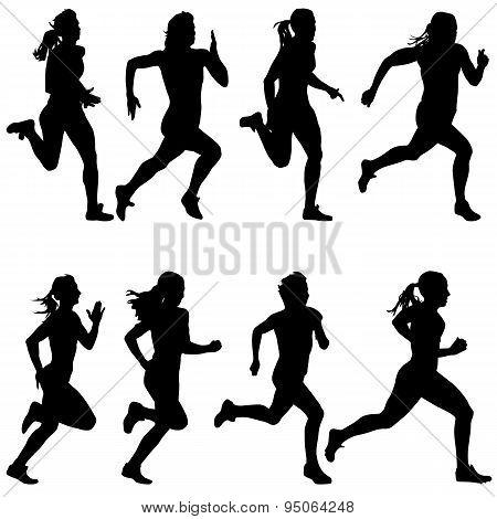 Set Of Silhouettes. Runners On Sprint, Women. Vector Illustratio