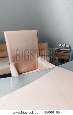 Leather Chair And Empty Desk