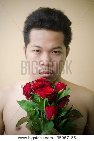 Young Man And Red Rose