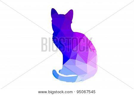 Colorful polygonal cat