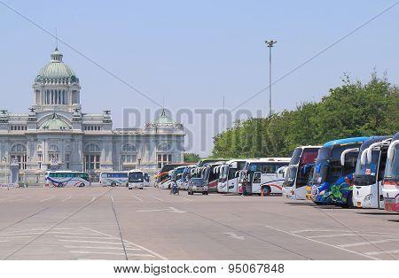 Tourist buses at Dusit Palace Bangkok Thailand